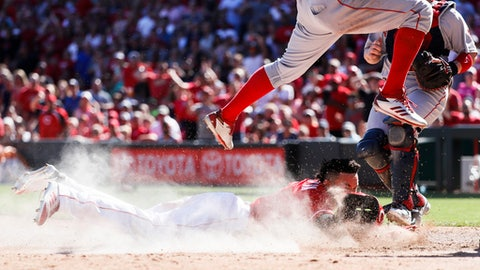Cincinnati Reds' Billy Hamilton, below, scores on an attempted steal at second and blown pickoff attempt caused by a throwing error by Boston Red Sox second baseman Dustin Pedrioa in the seventh inning of a baseball game, Sunday, Sept. 24, 2017, in Cincinnati. (AP Photo/John Minchillo)