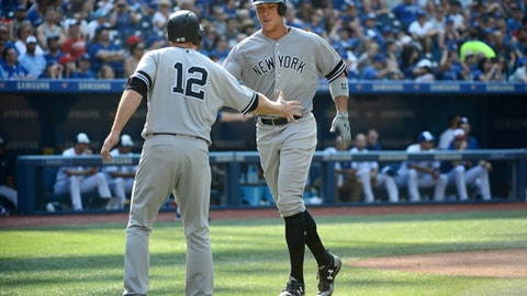 New York Yankees' Aaron Judge, right, celebrates at the plate after hitting a two-run home run during the seventh inning of a baseball game against the Toronto Blue Jays, Sunday, Sept. 24, 2017 in Toronto. (Jon Blacker/The Canadian Press via AP)