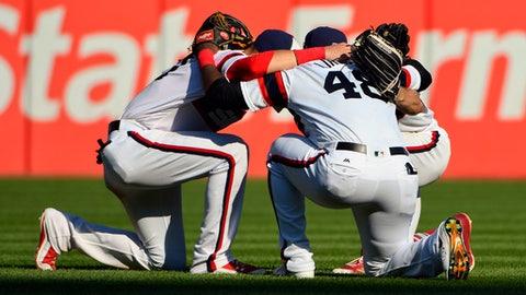 Chicago White Sox left fielder Nicky Delmonico, left, right fielder Rymer Liriano (48) and center fielder Adam Engel, celebrate after a baseball game against the Kansas City Royals in Chicago on Sunday, Sept. 24, 2017. The White Sox won 8-1. (AP Photo/Matt Marton)