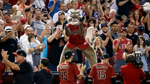 Arizona Diamondbacks mascot Baxter applauds along with fans as it is announced the Diamondbacks clinching a playoff spot during the fourth inning of a baseball game against the Miami Marlins Sunday, Sept. 24, 2017, in Phoenix. Both the St. Louis Cardinals and the Milwaukee Brewers lost, giving the Diamondbacks the National League Wild Card playoff spot. (AP Photo/Ross D. Franklin)