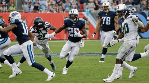 Tennessee Titans running back DeMarco Murray (29) gets past Seattle Seahawks cornerback Richard Sherman (25) as Murray scores a touchdown on a 75-yard run in the second half of an NFL football game Sunday, Sept. 24, 2017, in Nashville, Tenn. (AP Photo/James Kenney)