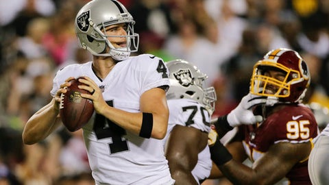 Oakland Raiders quarterback Derek Carr (4) looks for an opening to pass during the first half of an NFL football game against the Washington Redskins in Landover, Md., Sunday, Sept. 24, 2017. (AP Photo/Mark Tenally)