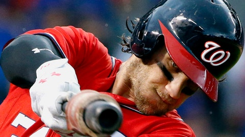 FILE - In this Aug. 6, 2017, file photo, Washington Nationals' Bryce Harper warms up during the first inning of a baseball game against the Chicago Cubs in Chicago. Harper could come off the disabled list and return to the Washington Nationals' lineup Monday night on Sept. 25 in the opener of a three-game series at Philadelphia. (AP Photo/Nam Y. Huh, File)