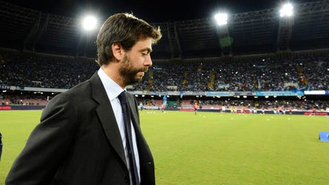 "FILE - In this Sept. 26, 2015 file photo, Juventus President Andrea Agnelli arrives for a Serie A soccer match between Napoli and Juventus, at the San Paolo stadium in Naples, Italy. Juventus president Andrea Agnelli has been banned for a year by the Italian football federation for an allegedly illicit relationship with hard-core ""ultra"" fans that encouraged ticket scalping. The court also fined Juventus 300,000 euros ($350,000) on Monday, Sept. 25, 2017. (AP Photo/Salvatore Laporta, files)"