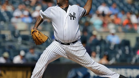 New York Yankees starting pitcher CC Sabathia throws during the first inning of a baseball game against the Kansas City Royals at Yankee Stadium, Monday, Sept. 25, 2017, in New York. (AP Photo/Seth Wenig)