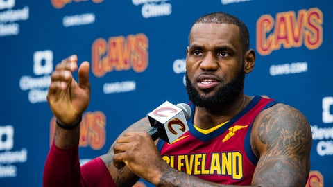 INDEPENDENCE, OH - SEPTEMBER 25: LeBron James #23 of the Cleveland Cavaliers talks to the media during Media Day at Cleveland Clinic Courts on September 25, 2017 in Independence, Ohio. NOTE TO USER: User expressly acknowledges and agrees that, by downloading and/or using this photograph, user is consenting to the terms and conditions of the Getty Images License Agreement. (Photo by Jason Miller/Getty Images)