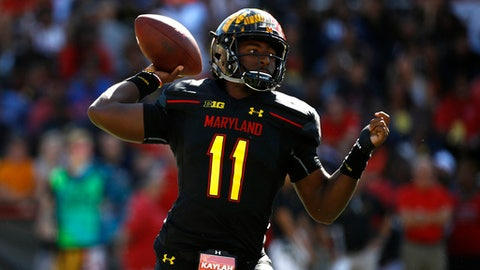 FILE - In this Saturday, Sept. 23, 2017, file photo, Maryland quarterback Kasim Hill throws to a receiver in the first half of an NCAA college football game against Central Florida in College Park, Md. Sophomore Max Bortenschlager will make his second career start in place of Hill when the Terrapins visit Minnesota Saturday in the Big Ten opener for both teams. Coach DJ Durkin said Tuesday, Sept. 26, 2017,  that Hill will miss the rest of the season with a torn right anterior cruciate ligament suffered in Saturday's 38-10 loss to Central Florida.  (AP Photo/Patrick Semansky, File)