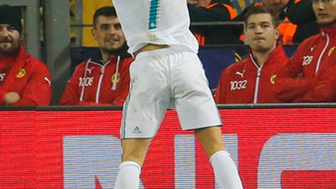 Real Madrid's Cristiano Ronaldo celebrates scoring his side's third goal during a Champions League Group H soccer match between Borussia Dortmund and Real Madrid at the BVB stadium in Dortmund, Germany, Tuesday, Sept. 26, 2017. (AP Photo/Michael Probst)