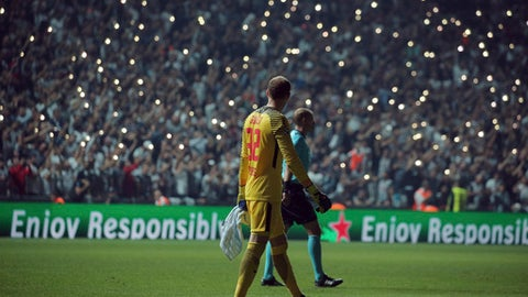 Leipzig players leave after the game during the Champions League group G soccer match between Besiktas and RB Leipzig at the Vodafone Park Stadium in Istanbul, Tuesday, Sept. 26, 2017. (AP Photo)