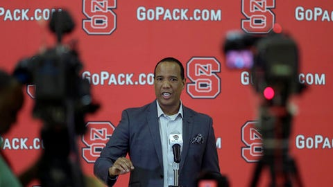 North Carolina State coach Kevin Keatts speaks to members of the media during the NCAA college basketball team's media day in Raleigh, N.C., Tuesday, Sept. 26, 2017. (AP Photo/Gerry Broome)