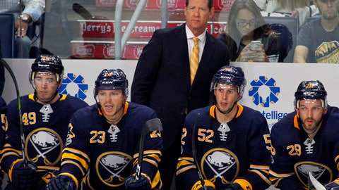 FILE - In this Monday Sept. 18, 2017, file photo, Buffalo Sabres new head coach Phil Housley looks on during the second period of a preseason NHL hockey game against the Carolina Hurricanes, Monday Sept. 18, 2017, in Buffalo, N.Y. Housley replaced coach Dan Bylsma. (AP Photo/Jeffrey T. Barnes, File)