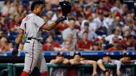 Washington Nationals' Wilmer Difo reacts after striking out against Philadelphia Phillies relief pitcher Adam Morgan during the seventh inning of a baseball game, Tuesday, Sept. 26, 2017, in Philadelphia. Philadelphia won 4-1. (AP Photo/Matt Slocum)