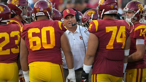 FILE - In this Sept. 16, 2017, file photo, Southern California head coach Clay Helton talks to his team during the first half of an NCAA college football game against Texas in Los Angeles. With a quarter of the college football season in the books, 24 undefeated teams remain, along with the possibility that each Power Five conference could have an undefeated champion. That's way off. For now, a couple of cross-divisional conference games matching ranked teams, No. 2 Clemson at No. 12 Virginia Tech and No. 5 USC at No. 16 Washington State, highlight the schedule and will be part whittling the field of unbeaten teams. (AP Photo/Mark J. Terrill, File)