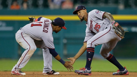 DETROIT, MI - SEPTEMBER 23:  Jorge Polanco #11 of the Minnesota Twins celebrates with Byron Buxton #25 of the Minnesota Twins after a 10-4 win over the Detroit Tigers at Comerica Park on September 23, 2017 in Detroit, Michigan. (Photo by Duane Burleson/Getty Images)