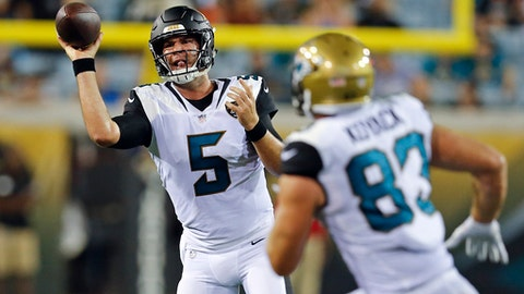FILE  - In this Thursday, Aug. 24, 2017 file photo, Jacksonville Jaguars quarterback Blake Bortles (5) throws a pass to tight end Ben Koyack (83) during the second half of an NFL preseason football game against the Carolina Panthers in Jacksonville, Fla. The Jacksonville Jaguars spent the last six years as road underdogs. Forty-four consecutive games to be exact. The Jaguars haven't been 2-1 or 3-1 since 2007, and coach Doug Marrone's message this week has been mostly about finishing the first quarter of the season with a winning record. It would be the franchise's first winning quarter of football since 2013. (AP Photo/Stephen B. Morton, File)