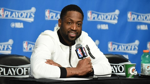 BOSTON, MA - APRIL 26:  Dwyane Wade #3 of the Chicago Bulls talks to the media during a press conference after Game Five of the Eastern Conference Quarterfinals against the Boston Celtics during the 2017 NBA Playoffs on April 26, 2017 at TD Garden in Boston, MA. NOTE TO USER: User expressly acknowledges and agrees that, by downloading and or using this Photograph, user is consenting to the terms and conditions of the Getty Images License Agreement. Mandatory Copyright Notice: Copyright 2017 NBAE (Photo by Brian Babineau/NBAE via Getty Images)