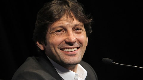 FILE - In this Jan. 12, 2012 file photo, Paris Saint Germain's PSG sporting director Leonardo, of Brazil, smiles during a press conference at the Parc des Princes stadium in Paris. Turkish club Antalyaspor has hired former Paris Saint-Germain sporting director Leonardo as coach. (AP Photo/Jacques Brinon, File)