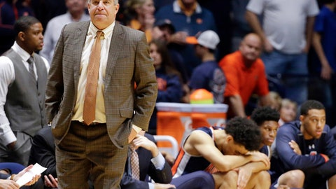 FILE - In this Dec. 12, 2015, file photo, Auburn head coach Bruce Pearl watches during the second half of an NCAA college basketball game against Middle Tennessee, in Nashville, Tenn. Pearl's efforts to infuse a once-moribund Auburn basketball program have been derailed after his associate head coach's arrest as part of a nationwide federal bribery investigation of college basketball. The Tigers' program is in murky waters with practice set to begin Friday after the arrest of associate head coach Chuck Person. (AP Photo/Mark Humphrey, File)