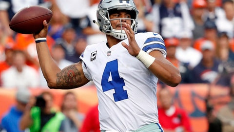 FILE - In this Sept. 17, 2017, file photo, Dallas Cowboys quarterback Dak Prescott looks to pass against the Denver Broncos during the second half of an NFL football game in Denver. The Cowboys host the Los Angeles Rams on Sunday. (AP Photo/Jack Dempsey, File)