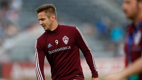 Colorado Rapids forward Kevin Doyle (9) in the first half of an MLS soccer match Saturday, June 17, 2017, in Commerce City, Colo. (AP Photo/David Zalubowski)