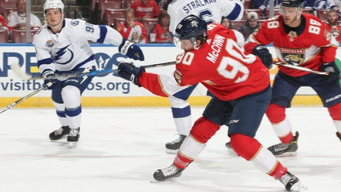 Florida Panthers center Jared McCann (90) shoots the puck and scores during the first period of an NHL preseason hockey game against the Tampa Bay Lightning, Thursday, Sept. 28, 2017, in Sunrise, Fla. (AP Photo/Joel Auerbach)