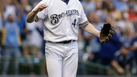 Milwaukee Brewers' Corey Knebel reacts to closing out the Cincinnati Reds during the ninth inning of a baseball game Thursday, Sept. 28, 2017, in Milwaukee. The Brewers defeated the Reds 4-3. (AP Photo/Tom Lynn)