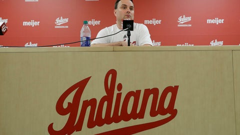 """FILE - In this July 11, 2017, file photo, Indiana coach Archie Miller listens to a question during an NCAA college basketball news conference in Bloomington, Ind. Miller came to Indiana to win. His players expect nothing less. Shortly after Miller sat at a dais inside Assembly Hall and explained what he'd consider a successful season, the Hoosiers made sure everyone knew their definition on media day. """"We expect to win, bottom line,"""" senior guard Robert Johnson said Thursday, Sept. 28. """"I think we have the talent. I think we have enough experience to do what we set out to do."""" Miller wants his team thinking that way. (AP Photo/Darron Cummings, File)"""
