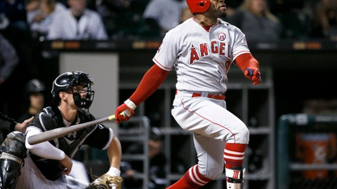 Los Angeles Angels' Eric Young Jr. watches his RBI ground-rule double off Chicago White Sox starting pitcher Dylan Covey during the fifth inning of a baseball game Thursday, Sept. 28, 2017, in Chicago. (AP Photo/Charles Rex Arbogast)