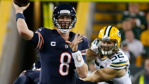 Chicago Bears' Mike Glennon throws in front of Green Bay Packers' Clay Matthews during the second half of an NFL football game Thursday, Sept. 28, 2017, in Green Bay, Wis. (AP Photo/Mike Roemer)