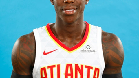 ATLANTA, GA - SEPTEMBER 25: Dennis Schroder #17 of the Atlanta Hawks poses for a head shot during Media Day on September 25, 2017 at Four Season Hotel in Atlanta, Georgia. NOTE TO USER: User expressly acknowledges and agrees that, by downloading and or using this photograph, User is consenting to the terms and conditions of the Getty Images License Agreement. Mandatory Copyright Notice: Copyright 2017 NBAE (Photo by Kevin Liles/NBAE via Getty Images)