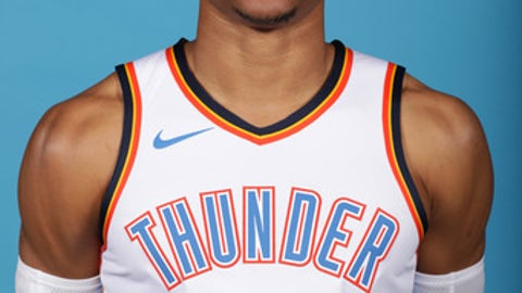 OKLAHOMA CITY, OK - SEPTEMBER 25: Russell Westbrook #0 of the Oklahoma City Thunder poses for a portrait during 2017 NBA Media Day on September 25, 2017 at the Chesapeake Energy Arena in Oklahoma City, Oklahoma. NOTE TO USER: User expressly acknowledges and agrees that, by downloading and or using this Photograph, user is consenting to the terms and conditions of the Getty Images License Agreement. Mandatory Copyright Notice: Copyright 2017 NBAE (Photo by Layne Murdoch/NBAE via Getty Images)