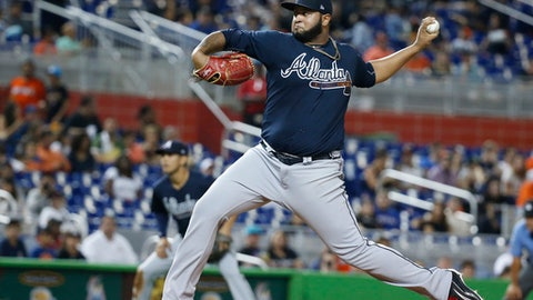 Atlanta Braves' Luiz Gohara delivers a pitch during the first inning of a baseball game against the Miami Marlins, Friday, Sept. 29, 2017, in Miami. (AP Photo/Wilfredo Lee)