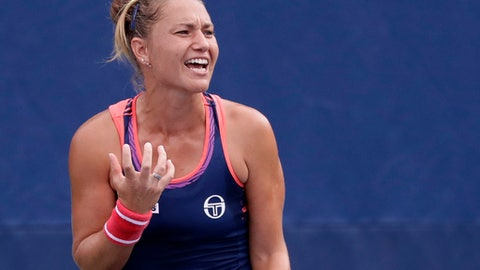 Kateryna Bondarenko, of Ukraine, reacts after a point to Zheng Saisai, of China, during the second round of the U.S. Open tennis tournament, Wednesday, Aug. 31, 2016, in New York. (AP Photo/Frank Franklin II)