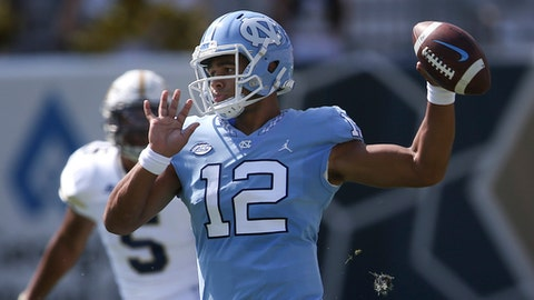 North Carolina quarterback Chazz Surratt (12) throws in the first half of an NCAA college football game against the Georgia Tech, Saturday, Sept. 30, 2017, in Atlanta. (AP Photo/John Bazemore)