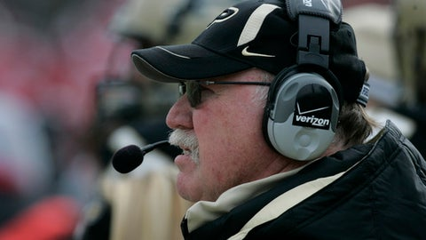 Purdue head coach Joe Tiller looks on from the sidelines during the third quarter of an NCAA college football game against Indiana in West Lafayette, Ind., Saturday,  Nov. 22, 2008 . Purdue won 62-10. (AP Photo/Darron Cummings)