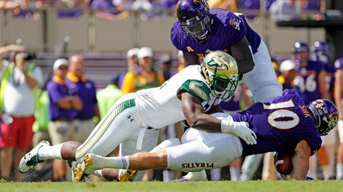 East Carolina's Thomas Sirk (10) is sacked by South Florida's Josh Black (55) during the first half of an NCAA college football game in Greenville, N.C., Saturday, Sept. 30, 2017. (AP Photo/Karl B DeBlaker)