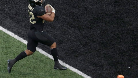 Wake Forest's Matt Colburn (22) runs for a touchdown against Florida State in the second half of an NCAA college football game in Winston-Salem, N.C., Saturday, Sept. 30, 2017. (AP Photo/Chuck Burton)