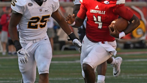 Louisville quarterback Jawon Pass (4) runs from the pursuit of Murray State's Marico Paige (25) during the second half of an NCAA college football game, Saturday, Sept. 30, 2017, in Louisville, Ky. Louisville won 55-10. (AP Photo/Timothy D. Easley)