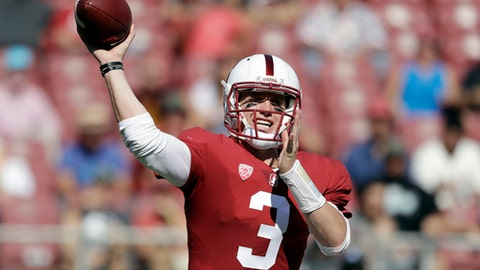 Stanford quarterback K.J. Costello throws against Arizona State during the second half of an NCAA college football game Saturday, Sept. 30, 2017, in Stanford, Calif. (AP Photo/Marcio Jose Sanchez)