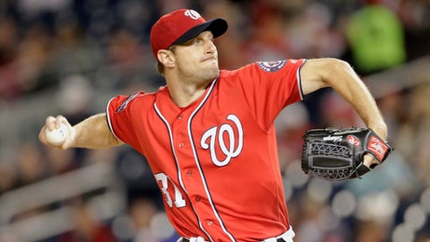 Washington Nationals starting pitcher Max Scherzer pitches during the first inning of a baseball game against the Pittsburgh Pirates, Saturday, Sept. 30, 2017, in Washington. (AP Photo/Mark Tenally)