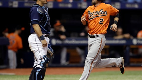 Baltimore Orioles' J.J. Hardy (2) scores in front of Tampa Bay Rays catcher Wilson Ramos on a sacrifice fly by Anthony Santander during the ninth inning of a baseball game Saturday, Sept. 30, 2017, in St. Petersburg, Fla. (AP Photo/Chris O'Meara)