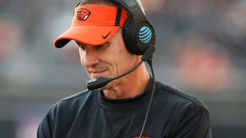 Oregon State head coach Gary Andersen walks the side during the first half of an NCAA college football game against Washington, in Corvallis, Ore., Saturday, Sept. 30, 2017. (AP Photo/Timothy J. Gonzalez)