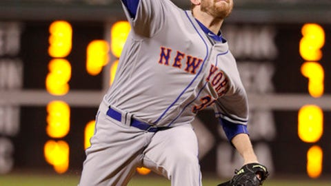 New York Mets relief pitcher Jacob Rhame throws a pitch during the 10th inning of a baseball game against the Philadelphia Phillies, Saturday, Sept. 30, 2017, in Philadelphia. The Mets won 7-4 in 11 innings. (AP Photo/Chris Szagola)