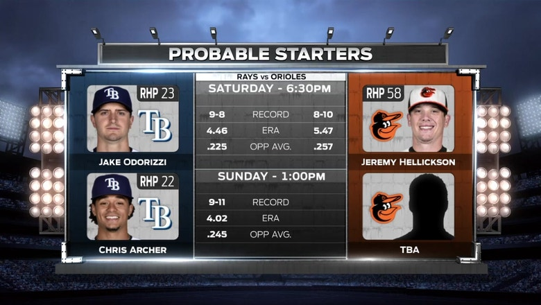 Jake Odorizzi heads to the bump as Rays remain in Baltimore