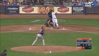WATCH: Brewers' Santana clears bases with 3-RBI double
