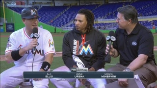 Jose Urena, A.J. Ellis chat after sweeping Mets