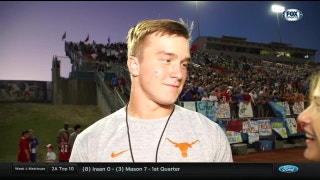 Sam Ehlinger watches West Lake HS game on Friday night