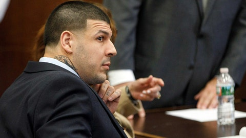 Apr 12, 2017; Boston, MA, USA; Former New England Patriots tight end Aaron Hernandez sits at the defense table during jury deliberations in his double murder trial of at Suffolk Superior Court . Hernandez is charged in the July 2012 killings of Daniel de Abreu and Safiro Furtado who he encountered in a Boston nightclub. The former NFL football player already is serving a life sentence in the 2013 killing of semi-professional football player Odin Lloyd. Mandatory Credit: Pool photo by Keith Bedford/The Boston Globe