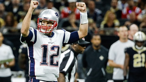 Sep 17, 2017; New Orleans, LA, USA; New England Patriots quarterback Tom Brady (12) celebrates after a play against the New Orleans Saints during the second half of a game at the Mercedes-Benz Superdome. The Patriots defeated the Saints 36-20.  Mandatory Credit: Derick E. Hingle-USA TODAY Sports