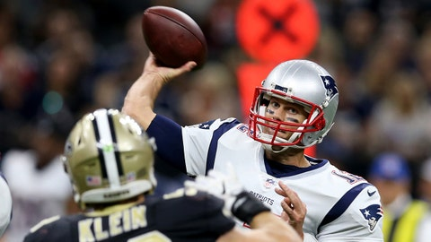 Sep 17, 2017; New Orleans, LA, USA; New England Patriots quarterback Tom Brady (12) makes a throw in the second half against the New Orleans Saints at the Mercedes-Benz Superdome. The Patriots won, 36-20. Mandatory Credit: Chuck Cook-USA TODAY Sports